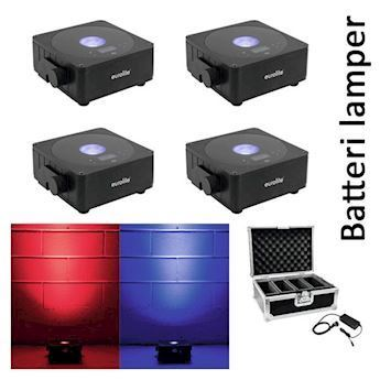 4 stk. LED batteri-lamper